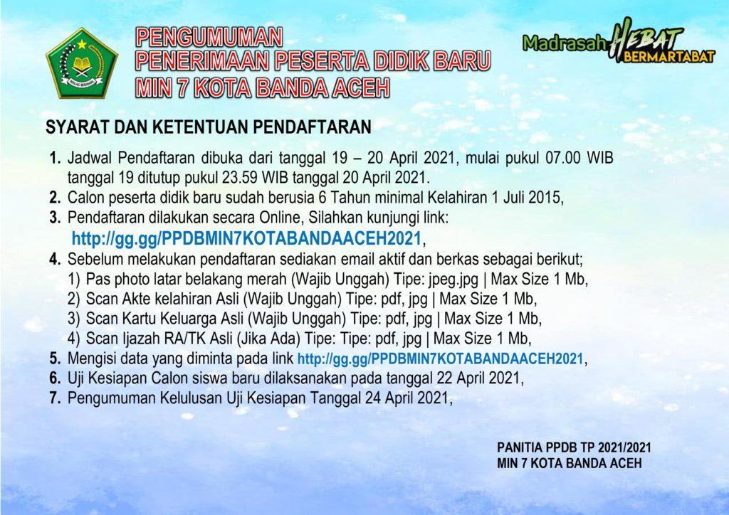 Info Ppdb Min 7 Banda Aceh